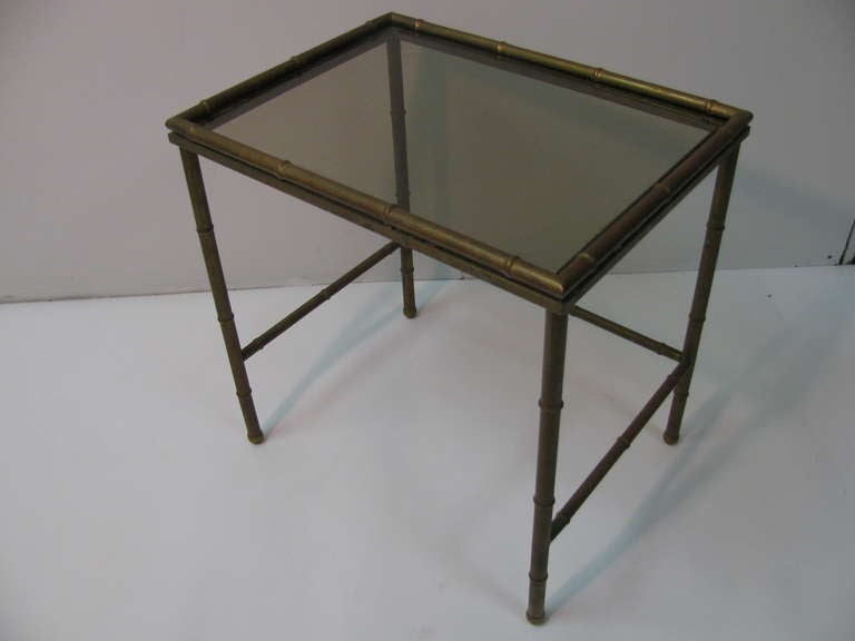 Mid Century Faux Bamboo Brass Nesting Tables, Italy For Sale 4