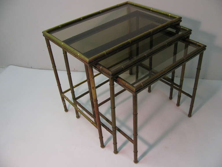 Mid Century Faux Bamboo Brass Nesting Tables, Italy For Sale 3