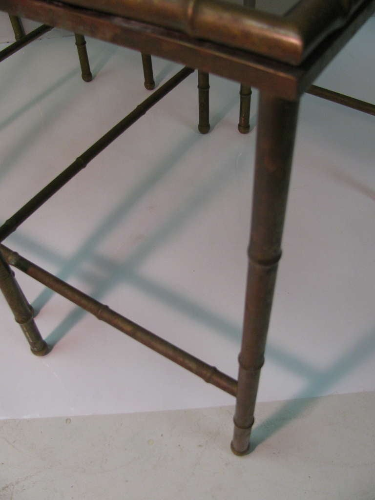 Mid Century Faux Bamboo Brass Nesting Tables, Italy For Sale 2