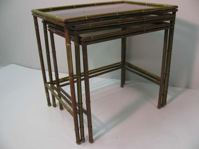 Mid Century Faux Bamboo Brass Nesting Tables, Italy In Excellent Condition For Sale In Port Jervis, NY