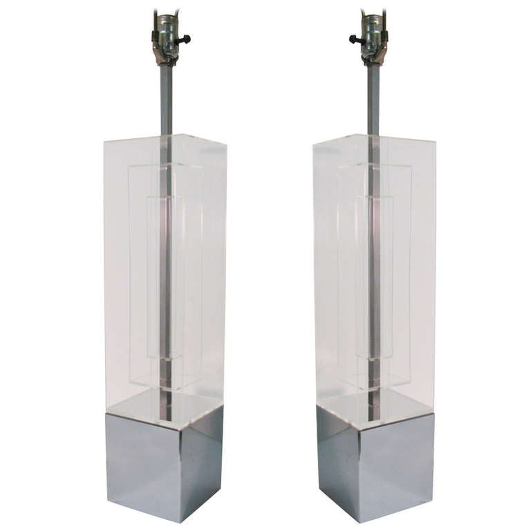 Pair of Mid Century Modern Architectural Lucite Table Lamps