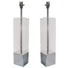 Pair of Mid-Century Modern Architectural Lucite Table Lamps