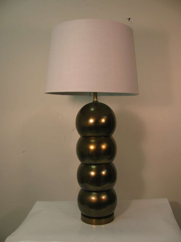 Pair Of Mid Century Brass Stacked Ball Table Lamps By George Kovacs 2