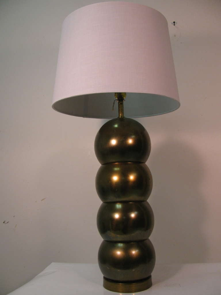 Pair Of Mid Century Brass Stacked Ball Table Lamps By George Kovacs 3