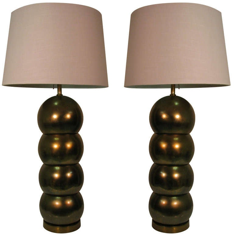 High Quality Pair Of Mid Century Brass Stacked Ball Table Lamps By George Kovacs 1