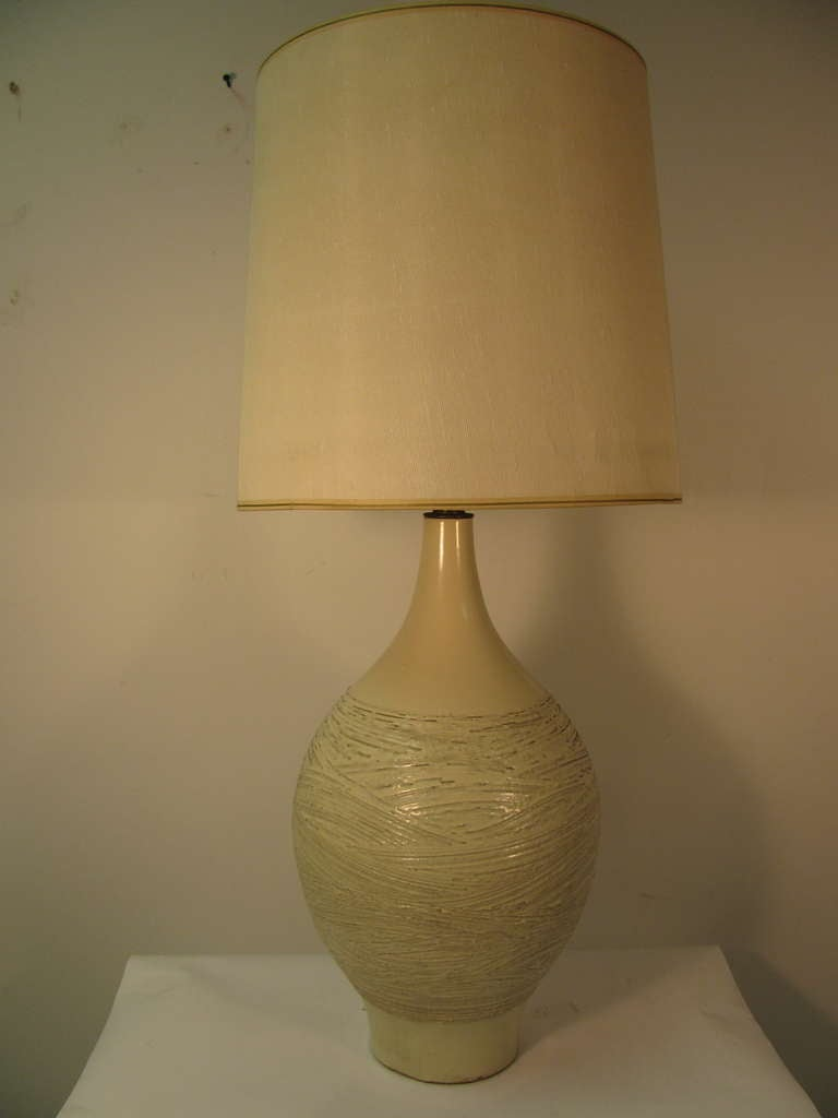 Mid Century Hand Thrown Glazed Stoneware Lamp At 1stdibs