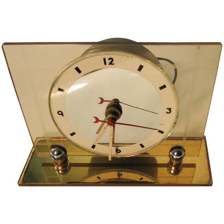 Art Deco Pink Champagne Glass Mantel Clock For Sale