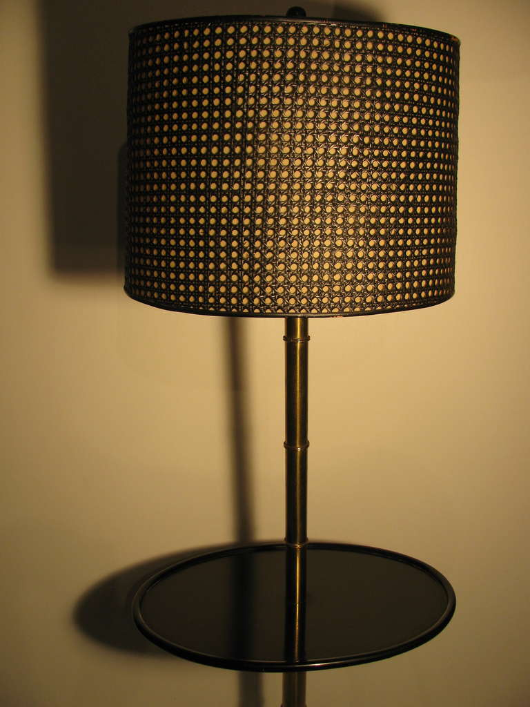 Neoclassical Fabulous Faux Bamboo Floor Lamp with Black Lacquer Table For Sale