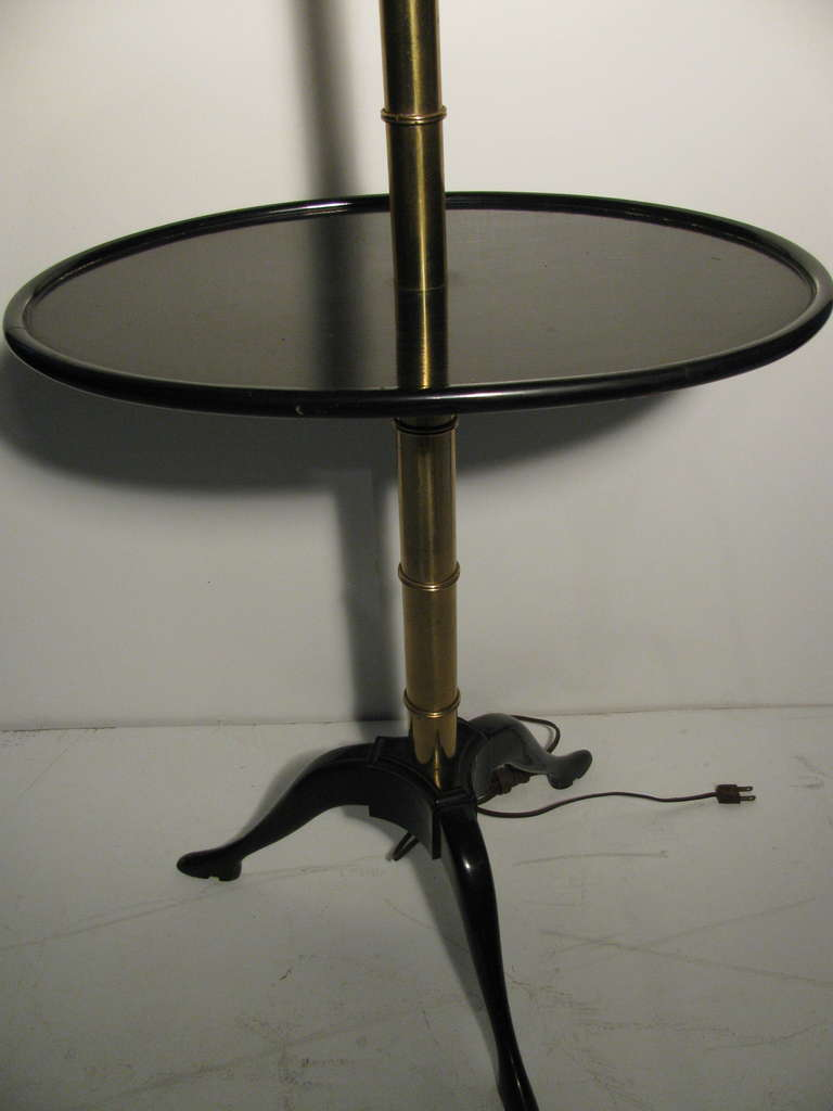 American Fabulous Faux Bamboo Floor Lamp with Black Lacquer Table For Sale