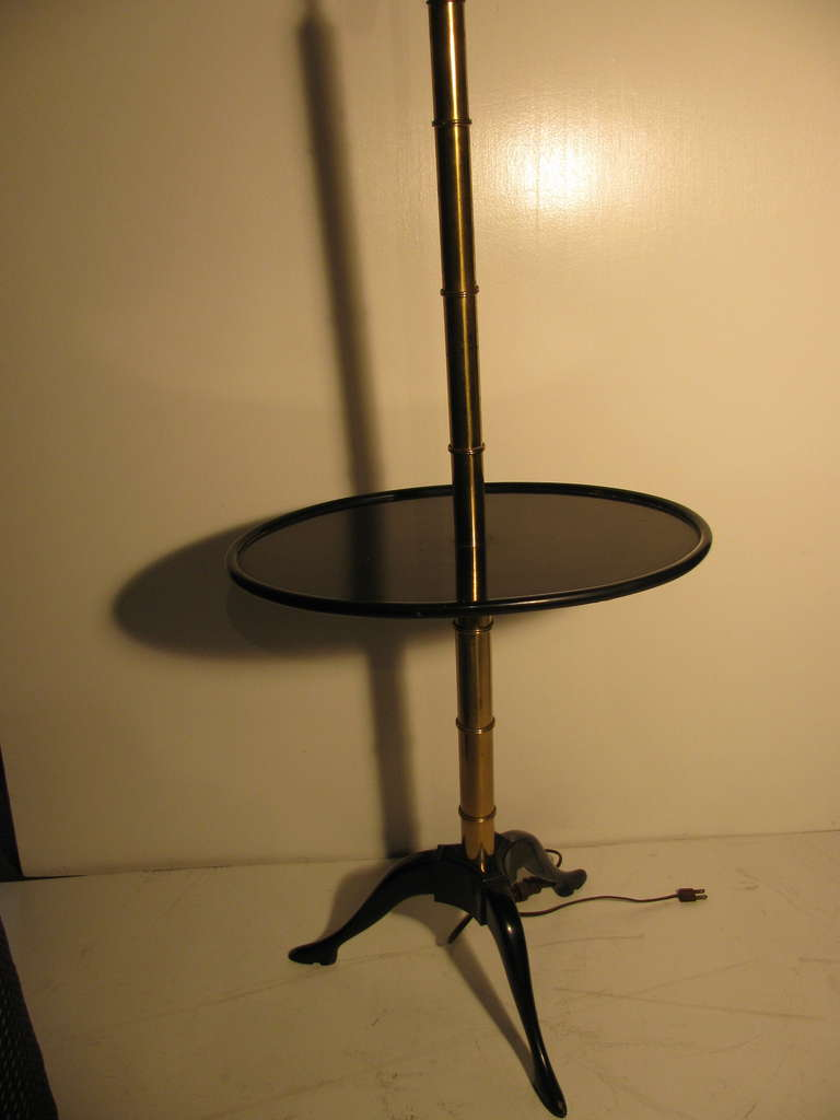 Mid-20th Century Fabulous Faux Bamboo Floor Lamp with Black Lacquer Table For Sale
