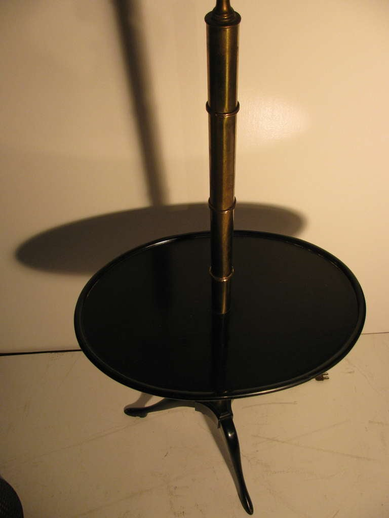 Fabulous Faux Bamboo Floor Lamp with Black Lacquer Table For Sale 1