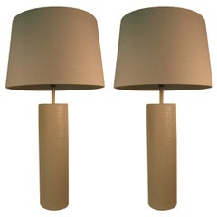 Pair of Mid-Century Modern Faux Crocodile Table Lamps