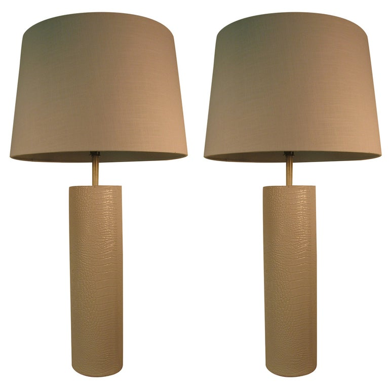 Pair of Mid-Century Modern Faux Crocodile Table Lamps For Sale