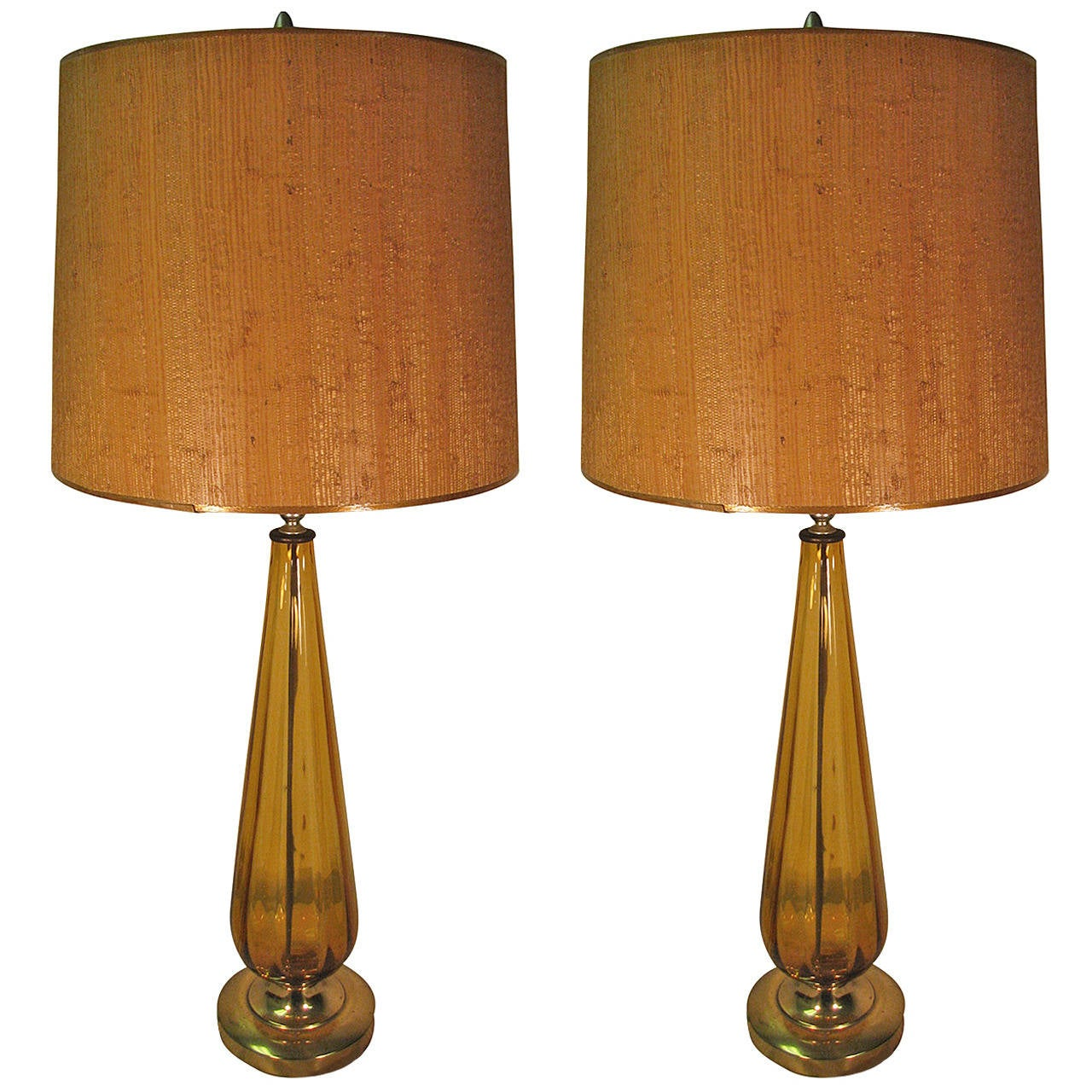 Pair Of Tall Ribbed Italian Amber Glass Table Lamps 1