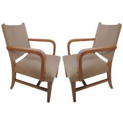 Modern Pair Of French Forties Directoire Arm Chairs