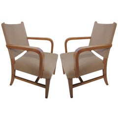 Modern Pair of French 1940 Directoire Armchairs