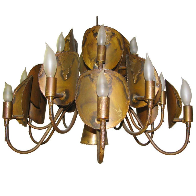 Brutalist Mid Century Chandelier In The Manner Of Curtis Jere