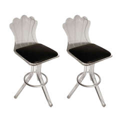 pair of mid century lucite bar stools