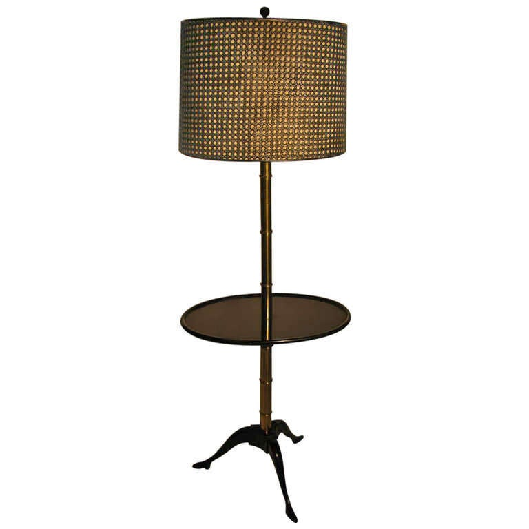 Fabulous Faux Bamboo Floor Lamp with Black Lacquer Table For Sale