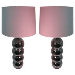 Pair of Midcentury Nickel Chrome Stacked Ball Table Lamps by George Kovacs