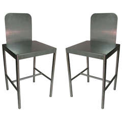 Pair Modernist Stainless Stools