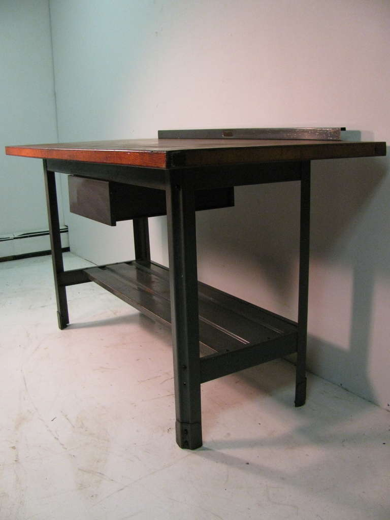 American Steel and Wood Industrial Machine Shop Work Table, Desk or Kitchen Island For Sale
