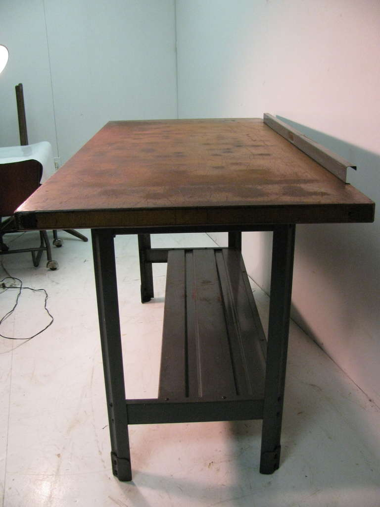 Mid-20th Century Steel and Wood Industrial Machine Shop Work Table, Desk or Kitchen Island For Sale