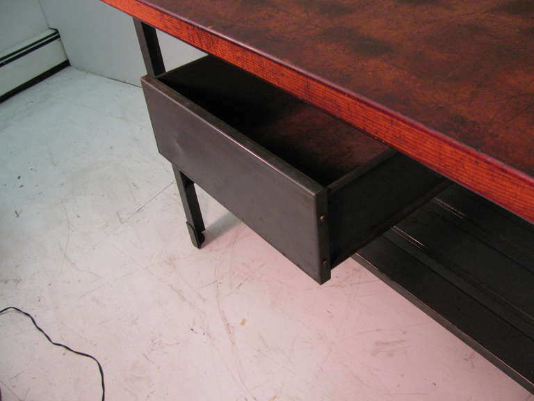 Steel and Wood Industrial Machine Shop Work Table, Desk or Kitchen Island For Sale 1