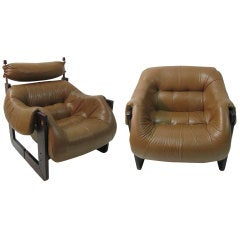 Pair of Midcentury Rosewood / Leather Lounge Chairs by Percival Lafer
