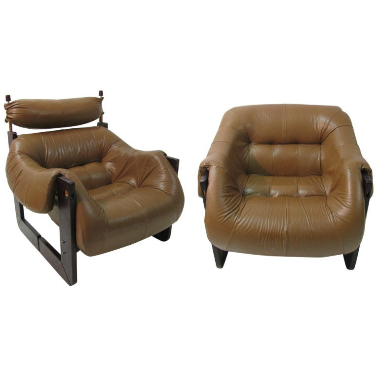 Pair Mid Century Rosewood Leather Lounge Chairs By Percival