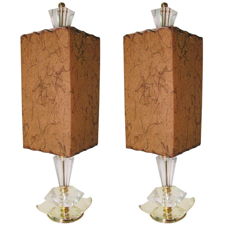 Mid Century Cut Glass Crystal Table Lamps For Sale at 1stdibs
