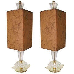 Mid Century Cut Glass Crystal Table Lamps