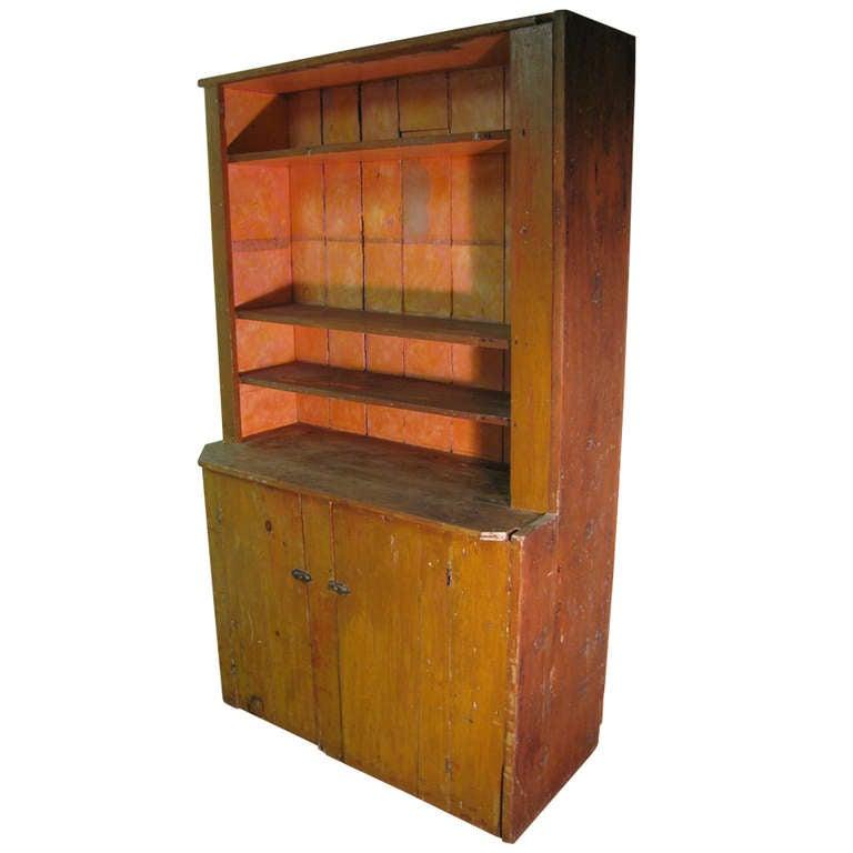 Primitive New York State Stepback Cupboard 1 - Early 19th C. Primitive New York State Stepback Cupboard For Sale