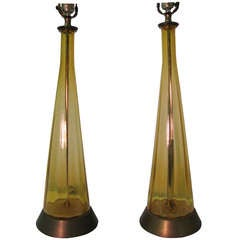 Pair Of Blenko Tall Mid Century Glass Lamps