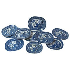 Antique Collection Of  English Transfer Ware Blue Willow Platters