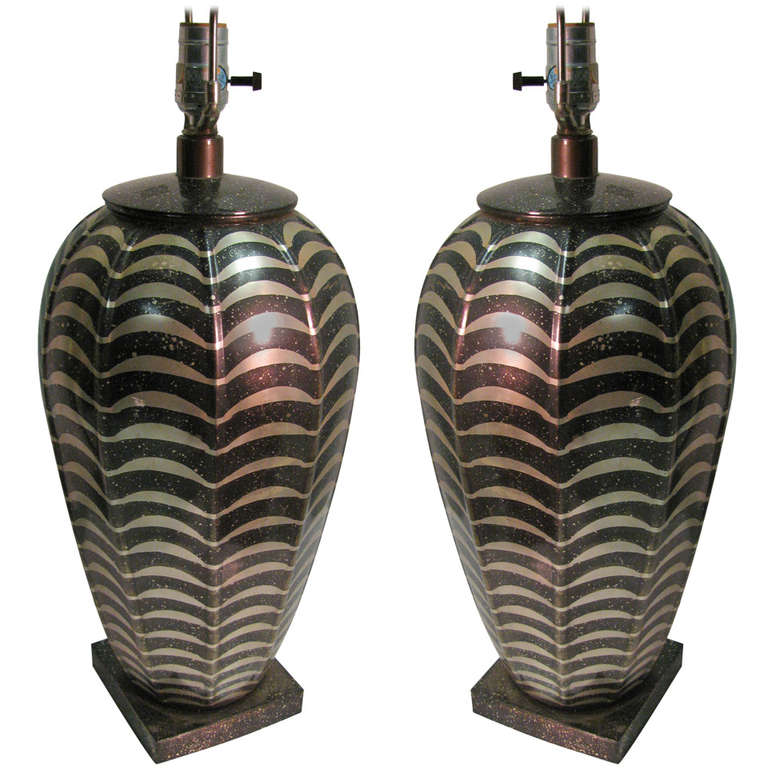 Pair of Patinated Metal Table Lamps by Jay Spectre For Sale