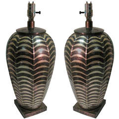 Pair of Patinated Metal Table Lamps by Jay Spectre