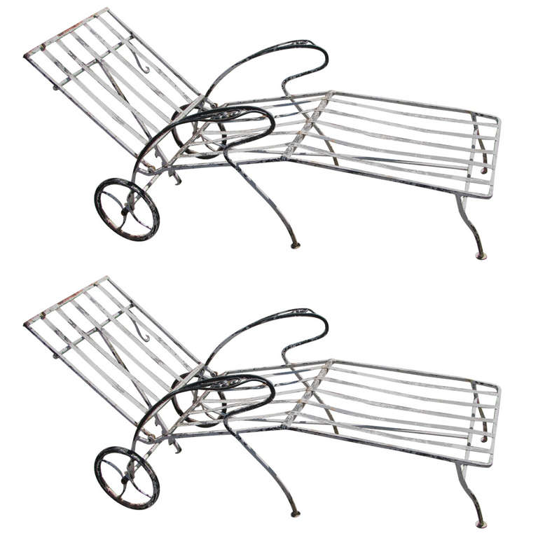 Pair of Painted Wrought Iron Garden Chaise Lounges For Sale at 1stdibs
