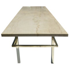 Architectural Mid-Century Modern Brass and Marble Cocktail Table