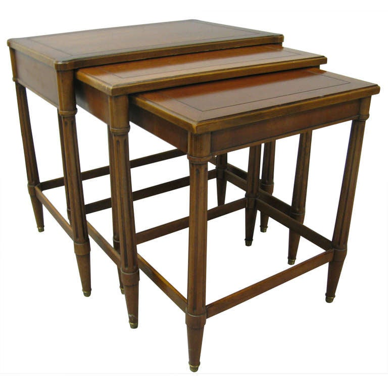 Neoclassical Walnut Set Of Three Nesting Tables Style Of Robsjohn Gibbings