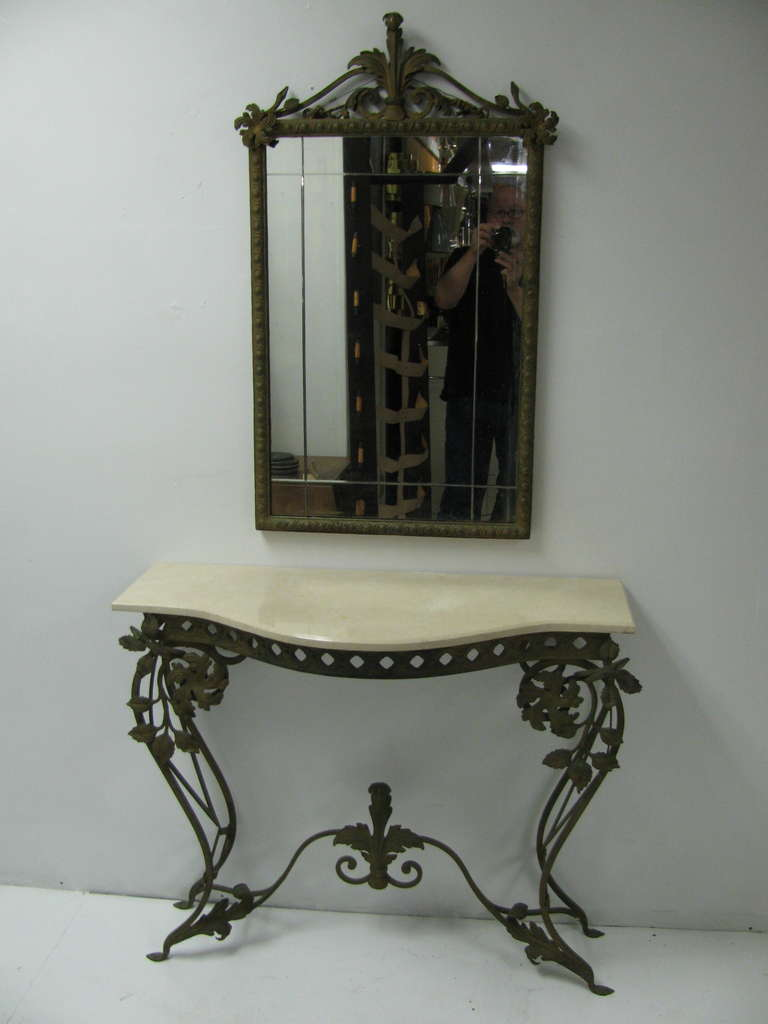 French Iron And Marble Console Table With Mirror For Sale