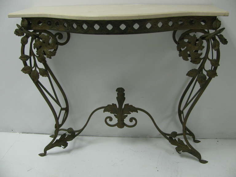 Louis XV French Iron and Marble Console Table with Mirror For Sale