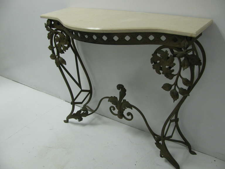 French Iron and Marble Console Table with Mirror In Good Condition For Sale In Port Jervis, NY