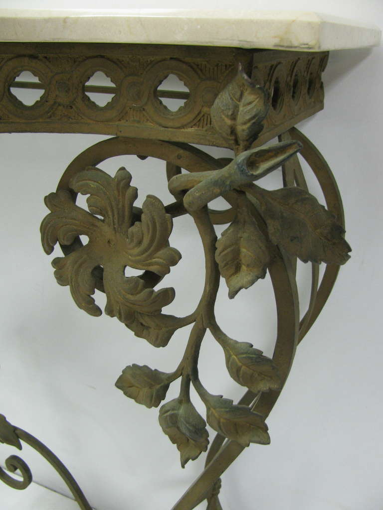 French Iron and Marble Console Table with Mirror For Sale 1