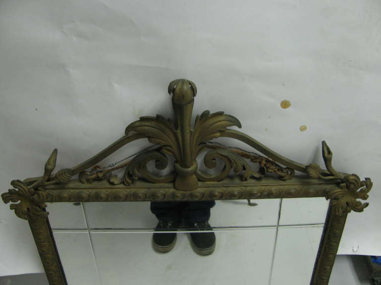 French Iron and Marble Console Table with Mirror For Sale 2