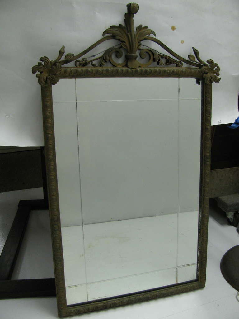 Glass French Iron and Marble Console Table with Mirror For Sale
