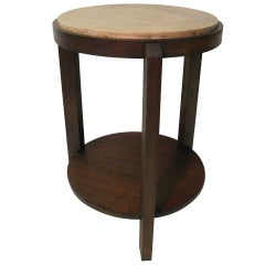 Travertine and Walnut Deco Gueridon or End Table