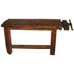 Primitive Industrial Workbench Console Table