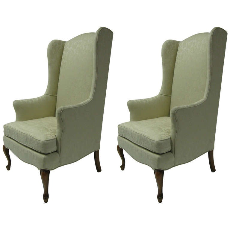 Pair Of Petite Wingback Armchairs For Sale