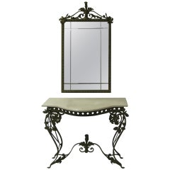 French Iron and Marble Console Table with Mirror